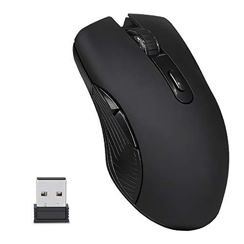 EasyULT Mouse Gaming Wireless Ricaricabile, Mouse Senza Fili 2,4G 2400DPI con Ricevitore Nano, 6 Pulsanti, 4 Livelli DPI, Mouse USB Portatile da Ottico, per PC Computer MacBook-Nero