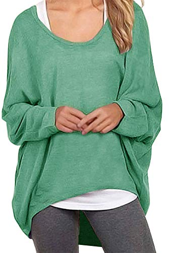 Meyison Damen Lose Asymmetrisch Sweatshirt Pullover Bluse Oberteile Oversized Tops T-Shirt Grün XXL