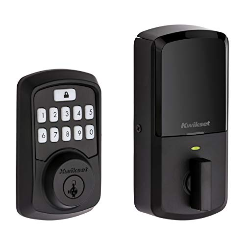 Kwikset 99420-003 Aura Bluetooth Programmable Keypad Door Lock Deadbolt Featuring SmartKey Security, Iron Black