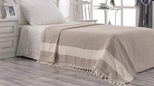 CottonundOlive Accent Luxury Tagesdecke, 150 x 220 cm, Reine Baumwolle, mit natürlichem Band & handgeknüpften Quasten, Beige