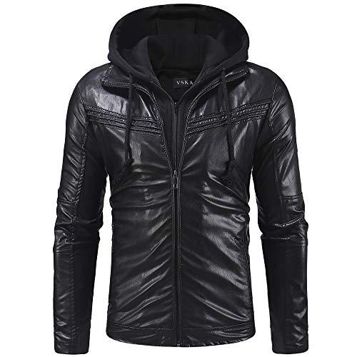 Reooly Hombres otoño e Invierno Casual con Capucha de Cuero con Cremallera Chaqueta de Manga Larga Camisa de Abrigo(Negro,X-Large)