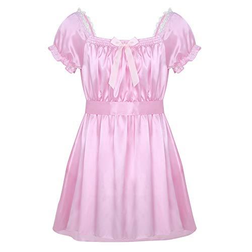 iiniim Herren Unterwäsche Nachthemd Satin Sissy Nachtkleid Schlafanzug Reizwäsche Nachtwäsche M-XXL Rosa XL