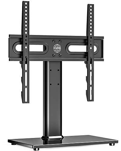 FITUEYES Universal-TV-Ständer mit drehbarer Tischplatte und Halterung für 27-55-Zoll-Fernseher - Höhenverstellbarer TV-Ständer mit gehärtetem Glasfuß und Kabelführung, max. VESA 400x400mm, für 40 kg