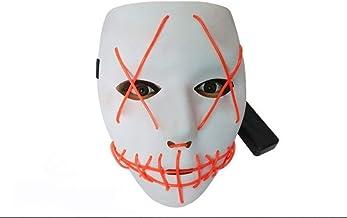 eyesonme Halloween Mask LED Light Up Funny Masks The Purge Movie Scary Festival Costume, Orange