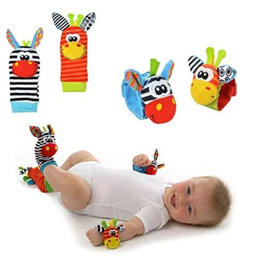 Aikesi Calcetines y Muñequeras para Bebé,Juguetes Lindo,Cómodo y Suave, Adecuado para bebé Sonajeros incorporados (Calcetines + Muñequeras)