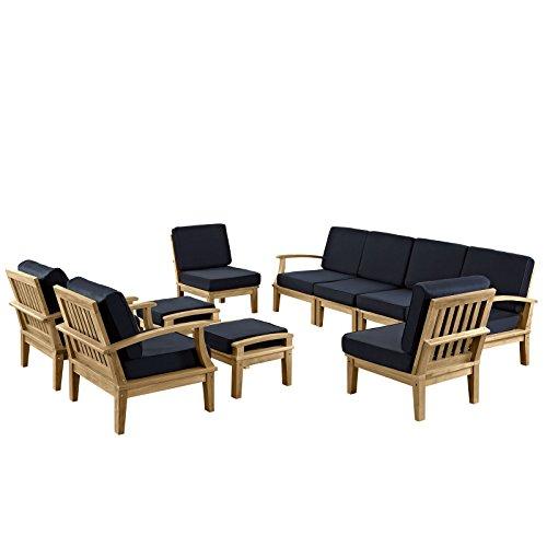 lexmod patio furniture sets LexMod Marina 10 Piece Outdoor Patio Teak Sofa Set in Natural Navy