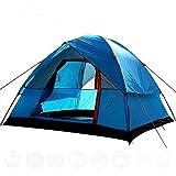 Carpa para Acampar Cortavientos para 3-4 Personas Carpa De Doble Capa Impermeable Anti UV Carpas Turísticas para Pesca Senderismo Playa Viajes Carpa De 4 Estaciones Azul