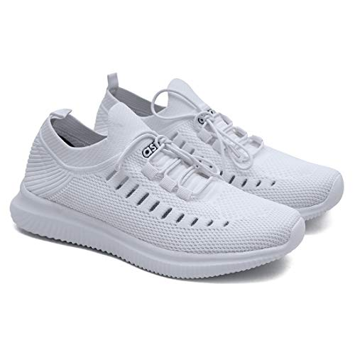 ASIAN Men's Hattrick-09 Men's Knitted Sports Shoes Sneakers,Ultra-Lightweight, Breathable, Walking, Fabric Running Shoes UK-9 White