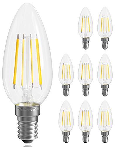 QNINE E14 Edison Birnen, 8 Stück, ersetzt 30W Vintage Glühbirne, 4W LED Warmweiß(2700K), 400LM, im Stil des Filaments, Retro Klarglas, nicht Dimmbar, 220-240V, 35mm, Kerzenform [Energieklasse A+]