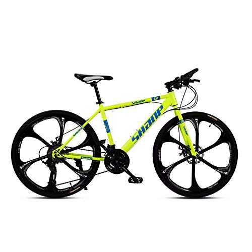 Country Mountain Bike 24/26 pollici Double Disc Brake adulti MTB una ruota Cross Country cambio di una bicicletta hardtail Mountain bike con sede regolabile in acciaio al carbonio giallo 6 Cutter WYJB