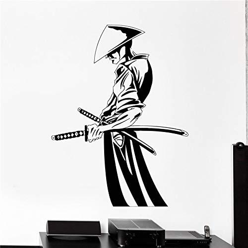 AGiuoo Decorar Pared calcomanía de Vinilo con Espada Samurai Japón Vinilo japonés decoración del hogar Pegatina de Pared Cita Cartel Mural Regalos 70x52cm