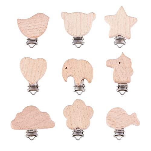 PandaHall 10 clips para chupete de madera de 10 formas, diseño de pájaro estrella, mariposa, flor, chupete de mariposa, clips de dentición para hacer chupete titulares de babero