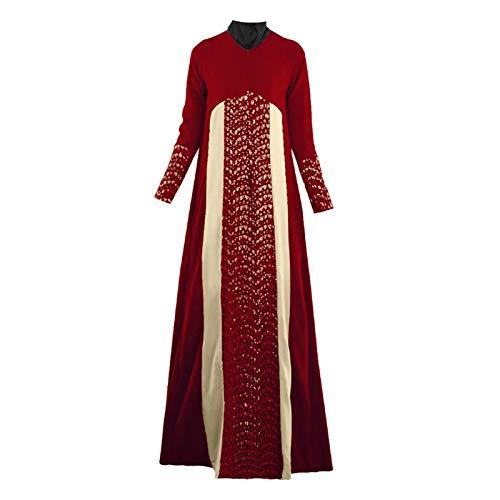 Vintage Color Block Patchwork Arab Muslim Dress for Women Long Sleeve Maxi Long Dress Abaya Robe Islamic National Dress Red