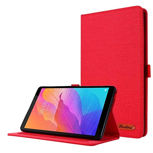 YANGJ For Huawei MatePad T8 Horizontal Flip TPU + Fabric PU Leather Protective Case with Card Slots & Holder(Black) (Color : Red)