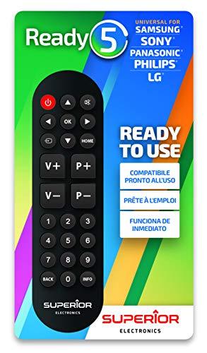 Superior Ready 5 SUPTRB014 - Mando a Distancia Universal autoaprendizaje Compatible con Todas Las TV y Smart TV - Listo para LG/Samsung/Sony/Panasonic/Philips