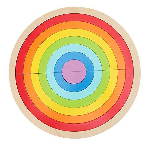 Blocchi di Costruzione in Legno Arcobaleno Colorato Ponte ad Arco Semicircolare Elemento Costitutivo Incantesimo Inserisci Giocattoli Legno Giochi da Impilare Educazione Precoce Giocattolo Cognitivo