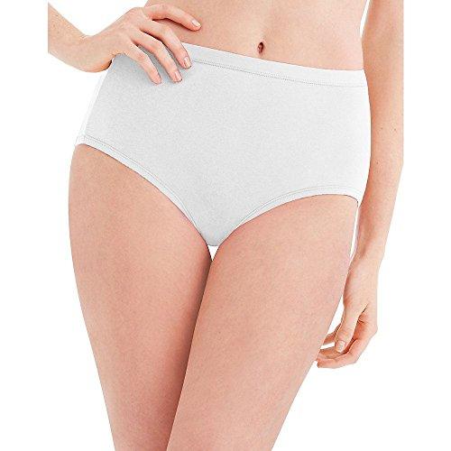 Hanes Women's Cotton Briefs 6 Pack Size: 9 Color: White