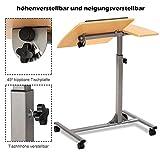 COSTWAY Laptoptisch Notebooktisch Pflegetisch Rolltisch Betttisch Sofatisch, auf Rollen, höhenverstellbar und neigungsverstellbar, 95x64x45cm - 5