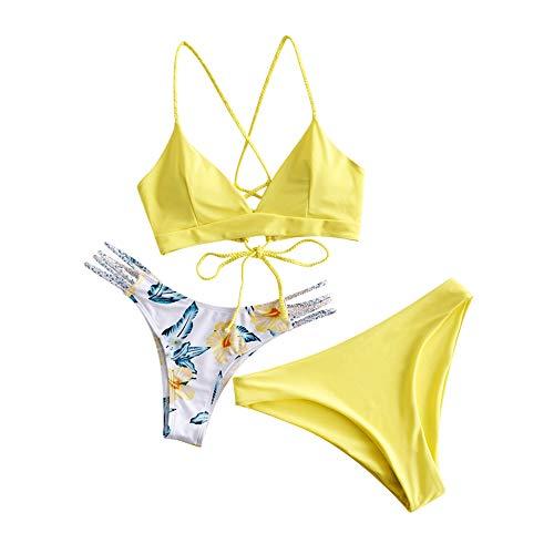 ZAFUL Floral Leaf Lace Up Gevlochten Floral Bikini Set tweedelige badpak