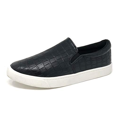 Topshoe Avenue Reign Women's Closed Toe Slip on Sneaker Loafer (6 M US, Croco Black)