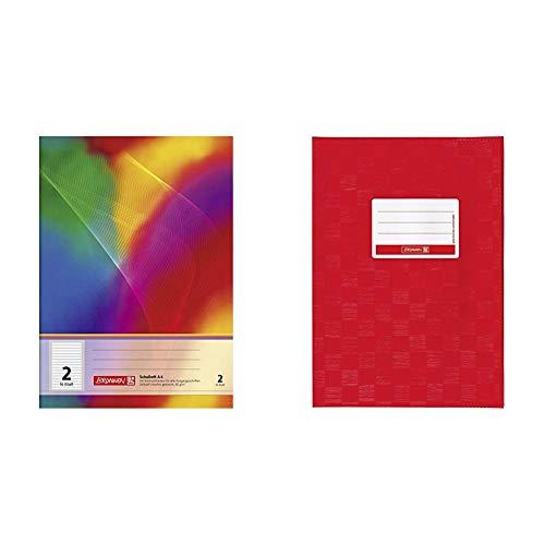 Brunnen 104498202 Schulheft A4 (16 Blatt, liniert, Lineatur 2, Klasse 2) & 104052424 Hefthülle/Heftumschlag (A4, Folie, mit Namensschild) rot