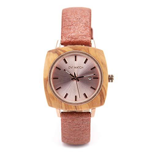 Ovi Watch - Holzuhr für Damen mit Gehäuse aus Holz, Datum, 40mm, Braun Ananas Lederarmband, Analog