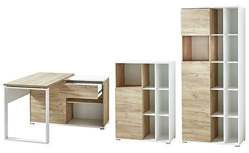 Germania 8017-513 GW-Lioni 3-tlg. Büromöbel-Set, inklusive Schreibtisch und zwei Aktenschränke, im Dekor Weiß/Navarra-Eiche-Nb.