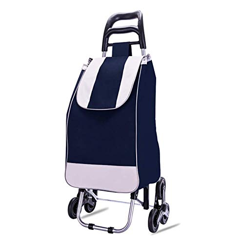 Nuokix Multilayer Shopping Trolley, Foldable Stair Climbing Shopping Cart with 6 Wheels,Wheels Detachable Backpack, Load Capacity 35kg,40L,Blue