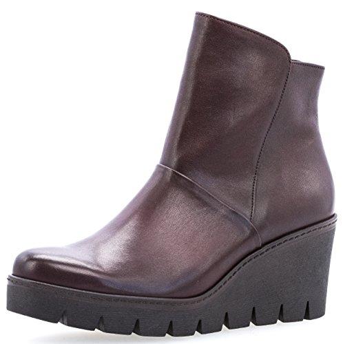Gabor Damenschuhe 73.784.25 Damen Stiefeletten, Wedge Boots, Stiefel, mit verbreitener Auftrittsfläche, mit Reißverschluss, mit Keilabsatz Rot (Merlot(Effekt) cogn), EU 6.5
