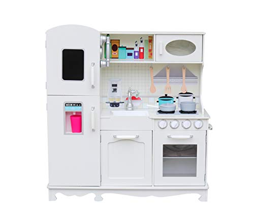 Play Kitchen for Toddlers – Kitchen Toys Playset for Kids – Pretend Play Cooking Set with Accessories – LED Backlight – Ultra-Realistic Vintage Design – Includes Ice Maker, Oven, Stove,