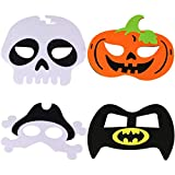 ZSWQ Máscaras de Halloween Máscaras de Fieltro para Disfraces Bruja Calabaza Murciélago Calavera Media Máscara con Cuerda Elástica Ajustable para Niños Adultos Decoración de Fiesta (4PCS)