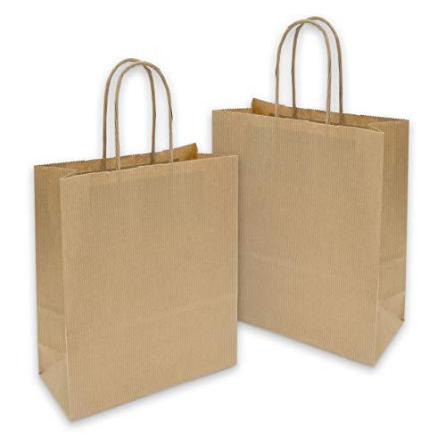 25x itenga Papiertragetaschen Geschenktüten mit Kordel 18x8x22cm 90g braun Kraftpapiertüten Kraftpapierbeutel mit Griff mittlere Größe