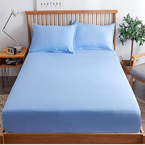 haiba Sábana bajera ajustable para cama individual, 100% algodón puro con diseño extra profundo, sábanas bajeras bajeras individuales, 180 x 220 cm + 25 cm
