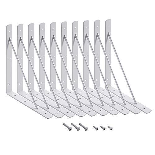Home Master Hardware 10 x 8 inch Shelf L Brackets Shelf Support Corner Brace Joint Right Angle Bracket White with Screws 10-Pack (White)