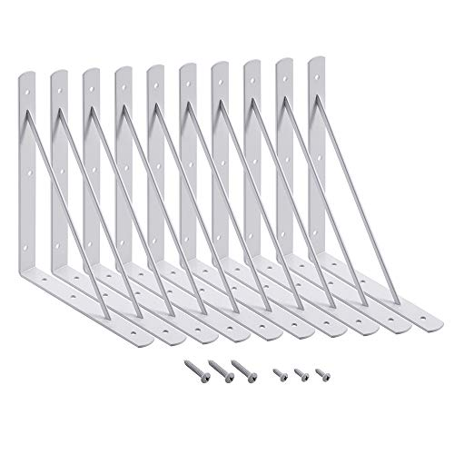 Home Master Hardware 10 x 8 inch Shelf L Brackets Shelf Support Corner Brace Joint Right Angle Bracket White with Screws 10-Pack (White)
