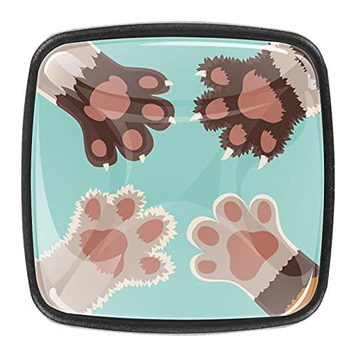 Perillas para armario de cocina, diseño de patas de perros, 1.18 pulgadas, 4 unidades