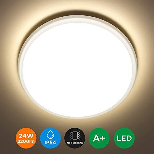 Tomons LED Deckenlampe Bad IP54 Wasserdicht, 24 W, 30 cm, Deckenleuchte Natürliches Weiß 2200lm, 3000K, Moderne Runde Deckenleuchten für Schlafzimmer, Bad, Küche, Wohnzimmer
