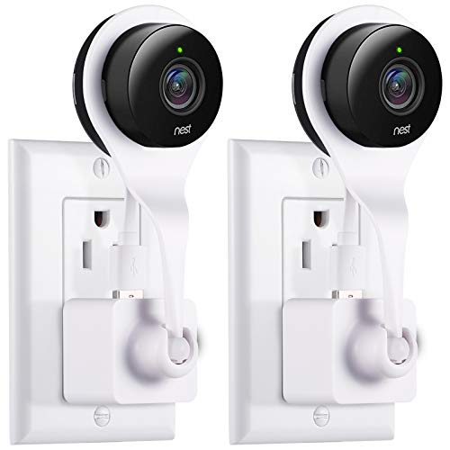Nest Cam AC Outlet Mount, Aotnex 360 Degree Swivel Wall Mount Bracket for Nest Cam Indoor and Drop Cam Pro, No More Messy Wires and Drilling (2 Pack, White)