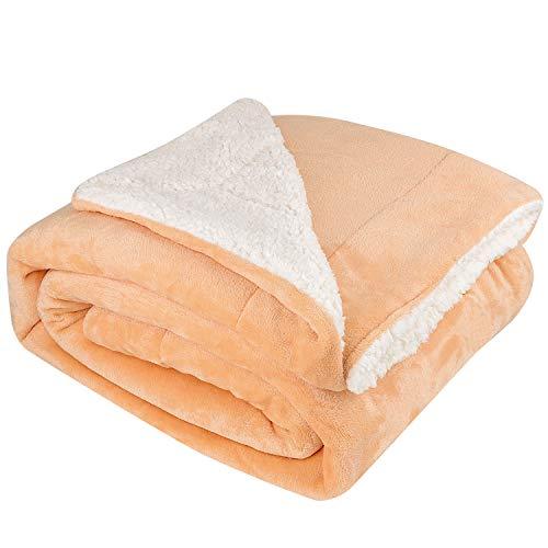 NEUFLY Decke, Zweiseitige Flannel Decke Fleecedecke 150 x 200 cm Extra Dick Sofadecke Couchdecke Super flausch Warm Kuscheldecke - Hellbraun