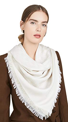 Tory Burch Women's Logo Jacquard Traveler Scarf, New Ivory, Off White, Print, One Size