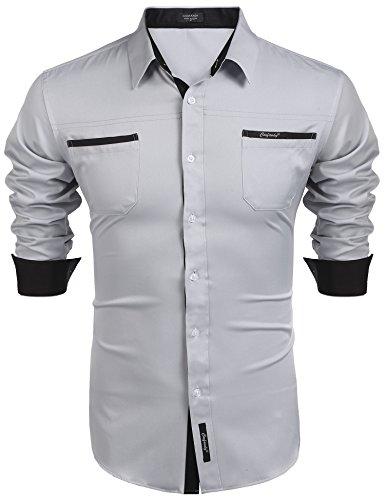 COOFANDY Herren Hemd Langarm Regular Fit Basic Freizeithemd Bügelfrei Herrenhemden Kentkragen Brusttasche Baumwolle Hemden Für Männer