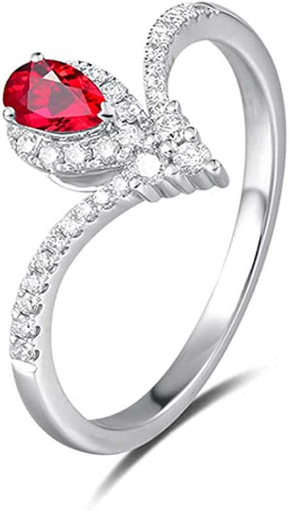 De Lapoll 14K White Gold Classic Natural Real Pigeon Blood Ruby Diamonds Rings Promise Ring for Women