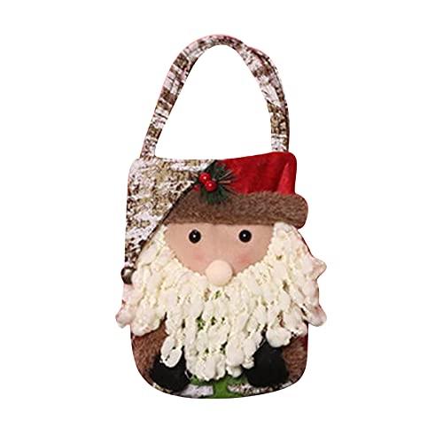 ZYYXB Bolsas de regalo de Navidad encantadoras bolsas de dulces de Navidad con asa, color marrón