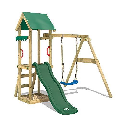 WICKEY Parco giochi in legno TinyWave Giochi da giardino con altalena e scivolo verde, Torre d'arrampicata da esterno con sabbiera e scala di risalita per bambini