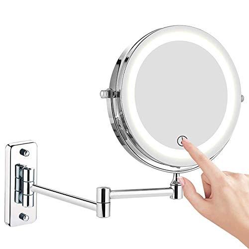 FeelGlad Kosmetikspiegel LED Beleuchtet, 1x/10x Vergrößerung Schminkspiegel mit Touch Button Einstellbar Licht, 360°Schwenkbar für Badezimmer, Spa und Hotel