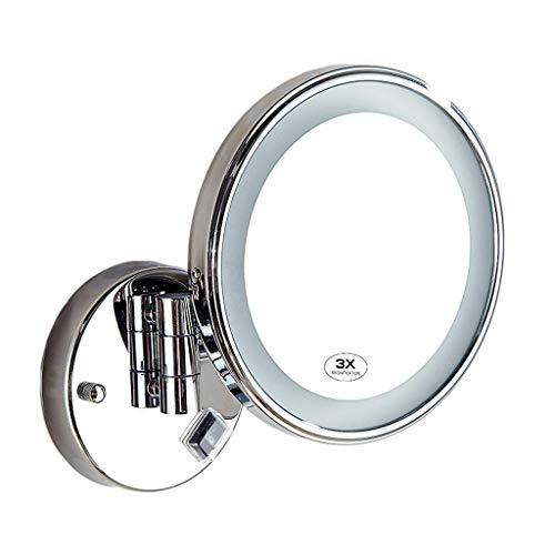 Miroir de Maquillage, LED Cosmétique de Salle de Bains Monté au Mur Grossi 3X de Rétrécissement Pliable Léger R01 de Maquillage (Couleur : Charging Version)