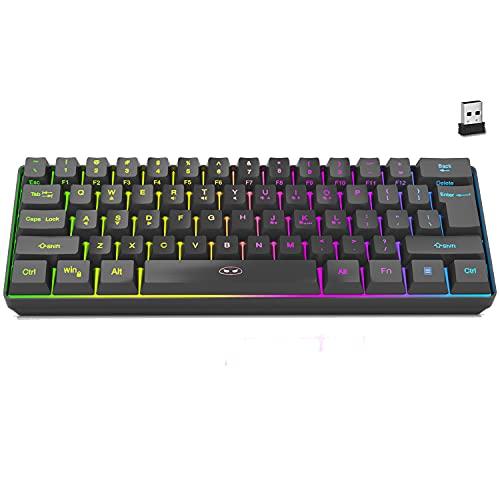 Black Mini 60% 2.4G Wireless Keyboard, MageGee TS92-BA RGB Backlit Gaming Keyboard, Portable 61 Keys Rechargeable Computer Office Keyboard for Windows Mac Laptop PC