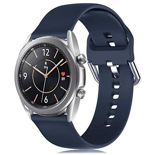 RIOROO 20mm Correa Compatible para Samsung Galaxy Watch 3 41mm / Active / Active 2 40mm 44mm Correa Mujer Hombre Sport Silicona Band Azul medianoche, Accesorios (sin Reloj), L