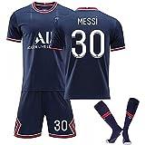 Messi PSG No.30 Jersey-2021-2022 Season Paris Saint Germain T-Shirts Suit (Home/Suit/Socks, M)
