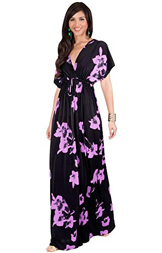 KOH KOH Womens Long Kimono Short Sleeve Floral Summer V-Neck Flowy Maxi Dress